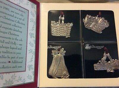 Set 4 LONGABERGER Pewter Basket Christmas Ornament 1994 Candle Sleigh Bell Holly