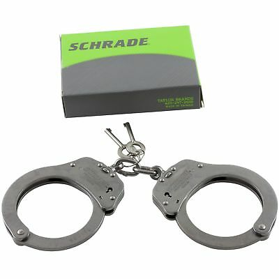 Schrade Stainless Chain Link Handcuffs Double Lock System Dual Ratchet 2 Keys