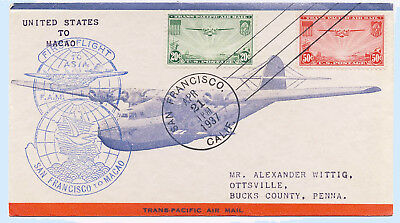 US 1937 Airmail First Flight Cover San Francisco CA- Macao FAM14-10A C21-22 FFC