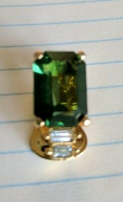 Vtg Christian Dior Single Green & Rhinestone Earring Clip on