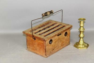 A Very Rare 19Th C Wooden Footwarmer With Brass Heater Holes In Old Surface