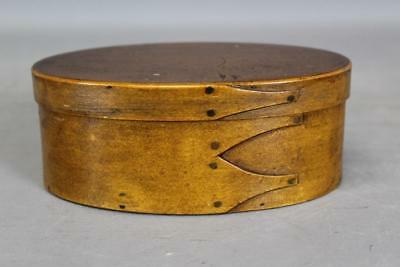 A Great 19Th C Enfield Ct Shaker Three Finger Oval Box Original Varnish Surface