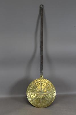 A Great 17Th C Dutch Punch Decorated Brass & Iron Bedwarmer Fantastic Decoration
