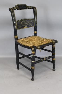 Extremely Rare 19Th C Hitchcock Child's Chair Best Stencil Painted Decoration