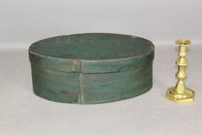 Rare Painted Pa German 18Th C Oval Brides Box In Grungy Original Green Paint