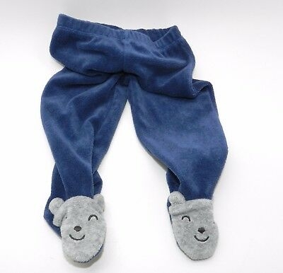 Carters Infants Terry Bottoms Size 9 Months with Feet Cute Bear Stretch Elastic