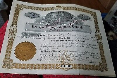 1911 Ben Hur Mining Company, Limited Saltese Montana Stock Certificate
