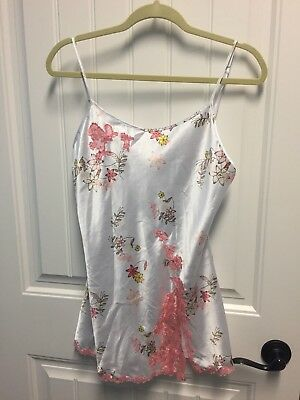 VICTORIAS SECRET White Satin CHEMISE SMALL Floral Lingerie NIGHTIE GOWN TEDDY