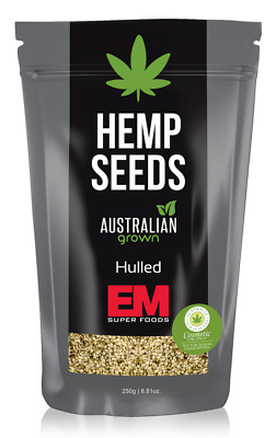 EM Superfoods Hulled Hemp Seeds 250g - Tasmainan Grown Australian Hemp Seeds