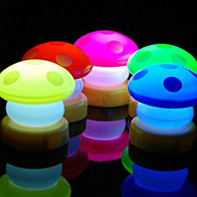 Cute Mushroom Press Down Touch LED Night Light Lamp for Baby Kid Infant Bedside
