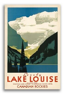 """1930s """"Lovely Lake Louise"""" Canadian Rockies Vintage Style Travel Poster - 24x36"""