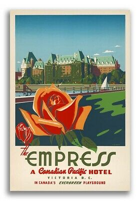 24x36 1950s Empress to Europe Canadian Pacific Cruise Vintage Travel Poster