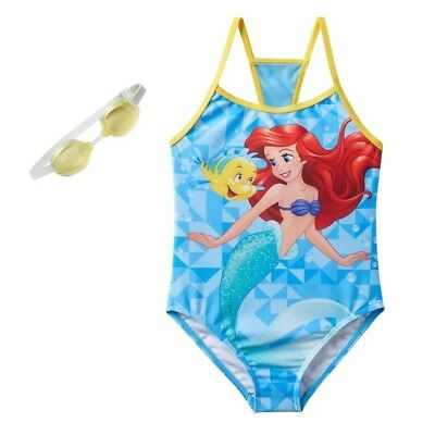 Disney Swimsuit Girls Size 5 6 Little Mermaid Ariel One-Piece with goggles 5/6