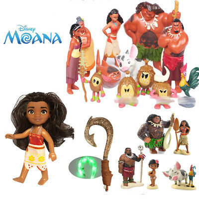 Trolls Toys Moana Princess Figure Toy Maui Light-Up Sound Fish Hook Collections