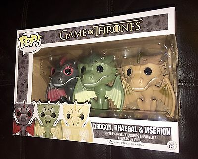 Funko Pop Game of Thrones Drogon Rhaegal Viserion Dragon 3-Pack Vinyl Figure Set
