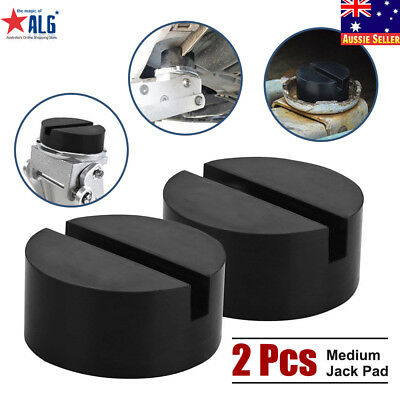 2 Pcs Black DIY Car SUV Slotted Frame Rail Hydraulic Floor Jack Disk Rubber Pad