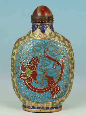 exquisite Chinese Copper Cloisonne Handmade Painting Dragon Statue Snuff Bottle