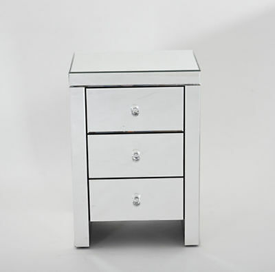 3 Drawers Mirrored Bedside Cabinet Tables Nightstand Lamp Side Table Bedroom UK
