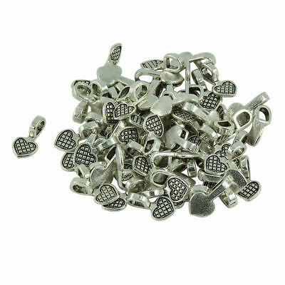 100pcs Heart Glue on Bail for Earring Bails and Glass Pendants Charms Craft