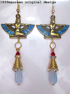 Egyptian Revival Art Deco earrings opal blue vintage style Art Nouveau long drop