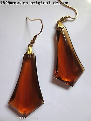 Art Deco Art Nouveau earrings 1920s vintage style amber geometric drops LARGE