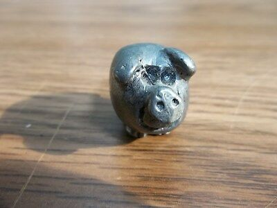 "Vintage Miniature Pewter Pig Figure 1"" Long"