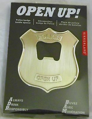 NEW Police Badge Bottle Opener Silver Metal OPEN UP! new in packaging Bar Tool