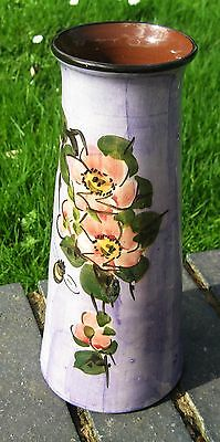 Torquay Devon Longpark Vase 10 inch . Wild rose decor Pinky mauve background .Go
