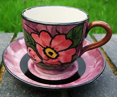Longpark Torquay cup&saucer .Wild pink rose decoration .Purplish pink with black