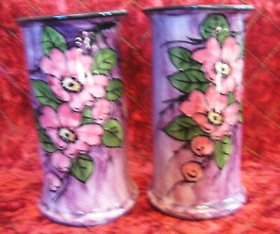 Torquay Devon Longpark pair vases. Flower decorated on purplish background 18x 9