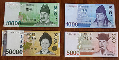 Complete Set of  UNC & Mint CIR South Korea Korean Won 4 Banknotes Paper money