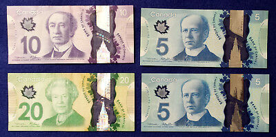 **Lot of 4 New Design Clean Circulated Canada Canadian Dollars Banknotes Bills**