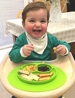 Baby Silicone Placemat Non Slip Happy Kiddies Weaning Food Plate Dish Uk Seller