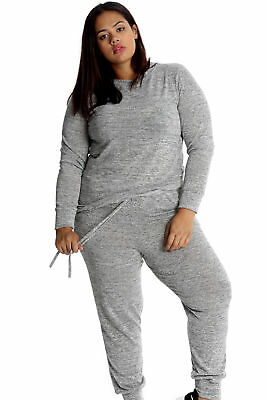 New Ladies Plus Size Tracksuit Trouser Ribbed Cuff Sweatshirt Bottoms Nouvelle