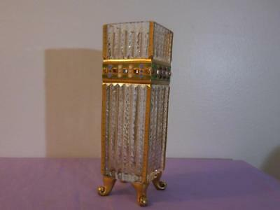 Vintage Austrian Cut Glass Footed Vase with Gold Decoration