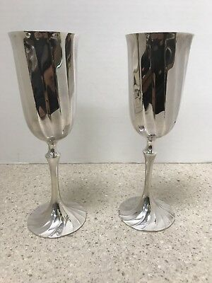 """Pair of Ricci Argentieri 8"""" Silverplate Goblets"""