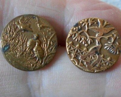 Antique/vintage Pair Of Gilt Metal Picture Buttons With Birds  #113