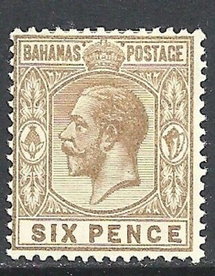 BAHAMAS  1912-19 6d bistre-brown hinged mint showing - 83009