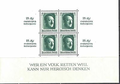 GERMANY 1937 Hitler's Culture fund miniature sheet roulette - 89072
