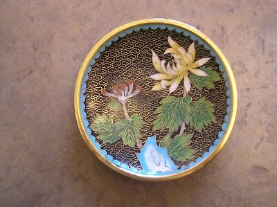 "A Pretty Chinese? Cloisonne Pin Dish With A Floral Design: 4.25"" Across: Vgc"