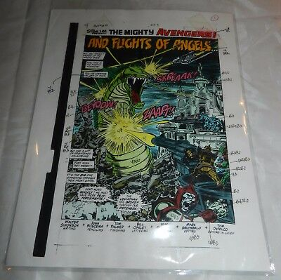 The Mighty Avengers #293 Splash Page production art - Color Instructions
