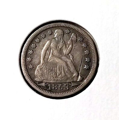 1853 Seated Liberty dime - XF details