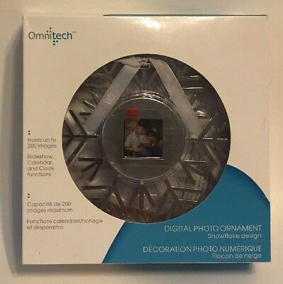 Omnitech Digital Snowflake Photo Christmas Tree Ornament Holds Up To 200 Images