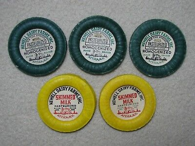Lot Of 5 Milk Bottle Caps Newell Dairy Farms Attica, Ny