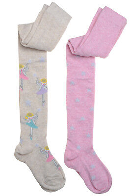 2 pairs of Fairy & Stars Designs Girls tights
