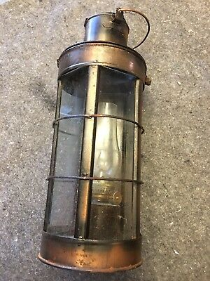 "Vintage Brass Glass Kerosene Oil Lantern with Handle-11"" Tall"
