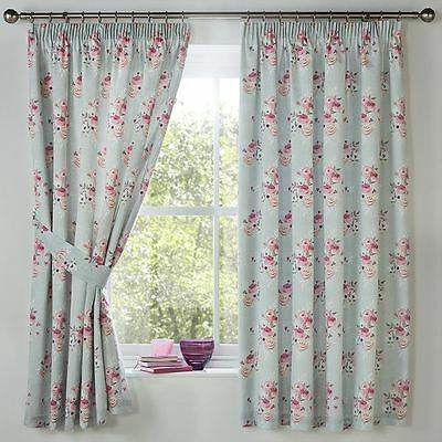 "Bunched Flowers Duck Egg Blue Lined 66"" X 72"" - 168X183Cm Pencil Pleat Curtains"