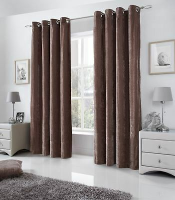 Venice Beige W58 X L90 Velvet Fully Lined Anneau Top Curtains #tevlev