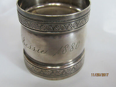 Antique Victorian Silverplate Napkin Ring Inscribed with name BESSIE dated 1880