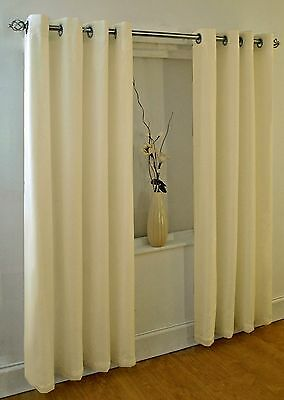 Classic Cream Plain Anneau Top Eyelet 92 X 72 Lined Voile Curtains